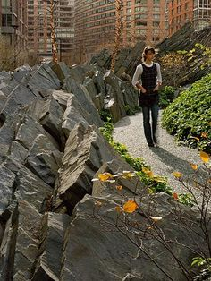 Pathway in Teardrop Park, a 1.8-acre public park in lower Manhattan designed by Michael Van Valkenburgh Associates. Click on image for description and many more photos. Visit the Slow Ottawa 'Streets for Everyone' and 'For Free' boards for more people-friendly urban design.