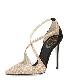 Crystallized Satin/Suede Cross-Strap d\'Orsay Pump by Rene Caovilla at Neiman Marcus.