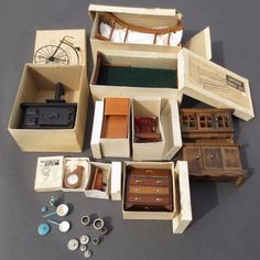 Nice Lot Of Vintage Dollhouse Furniture  Most In Original Boxes  Mostly  Shackman #Shackman
