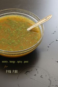 Spicy Tangy Minty Masala Pani for Pani Puri 1 cup cilantro 1 cup mint leaves… Puri Recipes, Veg Recipes, Indian Food Recipes, Vegetarian Recipes, Recipies, Chicken Recipes, Snack Recipes, Pani Puri Recipe, Chaat Recipe