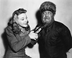 Evelyn Ankers and Lon Chaney, Jr. - The Wolf Man (Universal 1941)