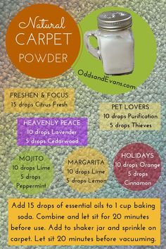 Easy homemade carpet deodorizer powder infused with essential oils. Sprinkle before vacuuming. Reuse an old spice container (www.OddsandEvans.com)