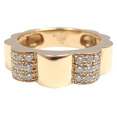 Chanel Diamonds Yellow Gold Band Ring | From a unique collection of vintage fashion rings at http://www.1stdibs.com/jewelry/rings/fashion-rings/
