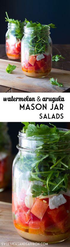 Watermelon, Feta & Arugula Mason Jar Salads | sweetpeasandsaffron.com @sweetpeasaffron
