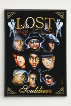 Lost Souldiers: Big Pun, Jam Master Jay, Biggie, Aaliyah, Big L, Left Eye, Tupac, ODB, Eazy-E - Canvas Airbrush Art http://www.artistikworld.com/de/lost-souldiers-leinwand-canvas