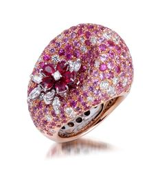 Stefan hafner 18k white and rose gold ring, aborned with diamonds, pink sapphires and rubies
