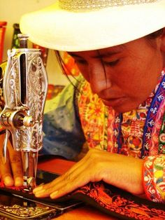 Beautiful embroidery adorns the traditional clothes of the women of the Colca Canyon in Arequipa Peru