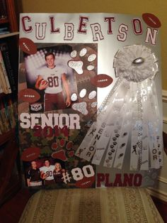 Senior year homecoming poster for my little brother! Homecoming Posters, Homecoming Ideas, Graduation Ideas, Senior Day, Senior Pics, Senior Pictures, Locker Decorations, Cap Decorations, Locker Signs