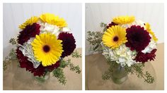 A lovely bridal bouquet with white hydrangea, yellow gerbera daisies, and dahlias.