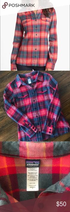 Patagonia• 100% Organic Cotton Tford Flannel So thick and warm. In excellent condition.  •Soft organic cotton flannel •Classic flannel shirt styling with button-front placket •Chest patch pockets with button-flap closures •Buttoned cuffs •Straight hem with side slits Patagonia Tops