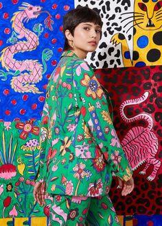 Dragons, Princesses, Tigers and Jaguars - PAOM Fashion Prints, Fashion Art, Fashion Design, Textiles, Textile Prints, Famous Art Pieces, Plaid Pattern, Branding, Textile Design