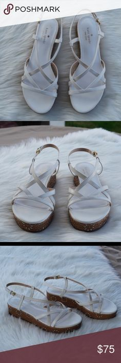 Kate Spade White Strappy Floral Wedge Sandals Kate Spade White Strappy Floral Wedge Sandals kate spade Shoes Wedges