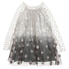 Stella McCartney Grey Dip Dye Spotty Dress at Childrensalon.com
