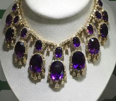 Purple power emanating from this amethyst & diamond necklace & earclips. Necklace has approx 280 cts of amethysts, circa 1965 signed Van Cleef & Arpels @sothebys....