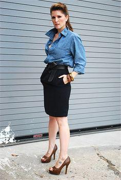Hubs Denim Shirt from Gap + Vintage Pencil Skirt + DKNY Belt + F21 heels