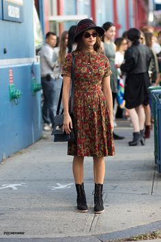 Absolute vintage glory in the floral dress. Chicago is undeniably fashion