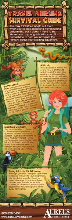 Infographic: Travel Nursing Survival Guide - At one time or another, many travel RNs have had that overwhelming feeling when preparing for travel nursing jobs. But it doesn't have to feel like a jungle. Let us help you navigate the territory with great tips and advice so you can be the very best nurse you can be on assignment.
