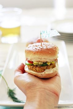 Veggie Sliders with tahini and mashed avocado. + 10 more healthy Superbowl recipes including 2 from Cooking Light.