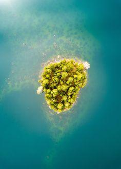 Matthew Island - Washington - USA (by John Westrock) Lake Pictures, Parisian Cafe, Free High Resolution Photos, Good Environment, Out To Sea, Bird Tree, Birds Eye View, Green Trees, Mountain Landscape