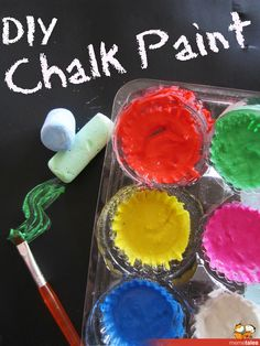 DIY Chalk Paint ... great way  to use up those little end bits of chalk!