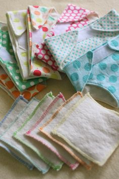 "Cute diapers/wipes. Pinner:ended up merging a doll ""panties"" pattern from McCalls 4338 with the Skip to my Lou pattern – I just kept tweaking it until it fit right. And I put a long strip of velcro across the front to make it more adjustable. The wipes are just flannel squares with zig-zagged edges"