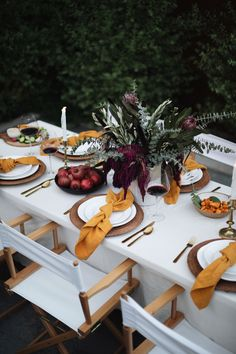 A Fall Tablescape by Kat Tanita - With Love From Kat - I love fall decor! Pumpkins, gourds, eucalyptus, deep burnt orange and red flowers, and gold candlesticks galore! Sharing a fall tablescape. Thanksgiving Table Settings, Holiday Tables, Thanksgiving Decorations, Fall Table Settings, Outdoor Thanksgiving, Christmas Tables, Fall Dining Table, Autumn Table, Decoration Evenementielle