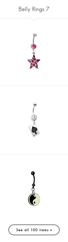 """""""Belly Rings 7"""" by bolt-der-superhund ❤ liked on Polyvore featuring jewelry, belly rings, piercings, accessories, belly button rings, star jewelry, belly button rings jewelry, leopard print jewelry, pink crystal jewelry and dangling jewelry"""