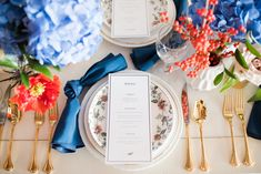 Kati Hewitt Photgraphy The George Hotel Red, White, Blue Wedding College Station, TX - Century Square, Naavy majestic napkin, tara salad plate, american sentry gold flatware, Texas, Americana Tablescape wedding design