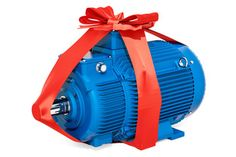 Industrial electric motor with bow and ribbon, gift concept. Industrial Electric, Electric Motor, 3d Rendering, Clipart, Outdoor Power Equipment, Ribbon, Bow, Concept, Gift
