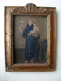 Spanish Colonial Painting on Board - Baby Jesus and St. Anthony of Pauda, 19th century or earlier