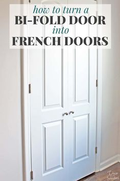 Home Renovation Diy Turn your bi-fold door into French doors with this easy tutorial! It shows you exactly how to create your own custom closet with beautiful DIY French doors. This budget-friendly closet makeover will have a huge impact on your home! Diy Closet Doors, Closet Door Makeover, Closet Bedroom, French Closet Doors, Bedroom Doors, Replacing Closet Doors, Diy Closet Ideas, Diy Bedroom, Double Closet Doors