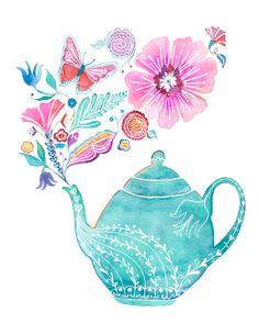 Teapot with flowers art by Emma Bazan (BellaAndBunny)