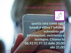 💡Chiama ORA INFOLINE #VULVODINIA linea attiva il lunedì 20.00- 21.00 📞 06.92.91.97.52 http://buff.ly/2d2p74C
