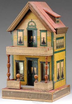 Reed (Whitney), Gutter House, Lithographed Paper-on-Wood, Shingle & Brick Facade, 18 inch. Miniature Houses, Miniature Dolls, Fairy Houses, Doll Houses, Dolls House Shop, Antique Dollhouse, Wood Shingles, Brick Facade, Small Buildings
