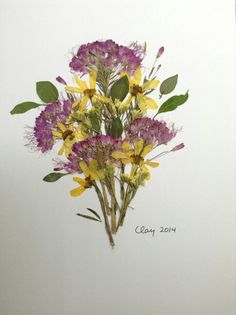 Pressed flower art with purple bees plant, yellow limonium, and some other yellow blossom.