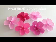 梅 折り紙 Japanese apricot origami Origami Bow, Kids Origami, Origami Bookmark, Origami Stars, Origami Paper, Origami Tutorial, Flower Tutorial, Origami Instructions, Diy Flowers