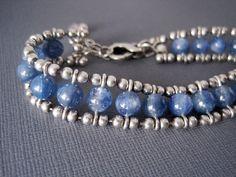 Kyanite Bracelet Kyanite and Sterling Silver by JHeatonDesigns