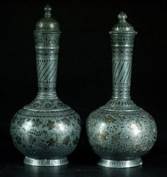 Pair of Indo-Persian Covered Bottles