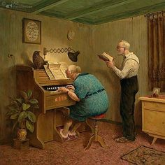 """""""Those Were The Days"""" - Marius van Dokkum, Dutch Artist and Illustrator Praise The Lords, Praise And Worship, Animation, Illustrations, Illustration Art, Piano Y Violin, Photo Humour, Growing Old Together, Dutch Painters"""