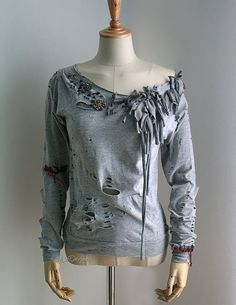 upcycled baseball shirts | Tattered t-shirt / upcycled t-shirt / long sleeve women t-shirt / off ...