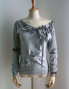 upcycled baseball shirts | Tattered t-shirt / upcycled t-shirt / long sleeve women t-shirt / off ...