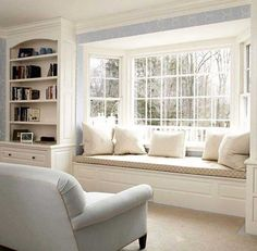 Window Seat - this appears a lot like our front room entrance window, solely ours has no seat but. Now I need to do the constructed-ins AND the window seat! - All Home Decors Window Seat Design, Home And Living, Decor, Interior Design, Front Room, Home, Interior, Bay Window Seat, Home Decor
