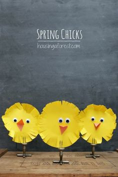 Spring chicks are out and about. Try this simple Easter craft!