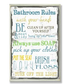 Blue & Green 'Bathroom Rules' Wall Sign #zulily #zulilyfinds