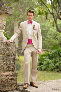 Slim Fit Tuxedos Slim Fit One Buttons Business Groom Tuxedos Peak Lapel Beige Groomsmen Best Man Suits 2014 Custom Made Wedding Prom Suits For Men Formal Clothing For Men From Promlee, $99.23| Dhgate.Com