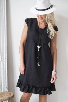 OLIVIA Linen Dress, Black