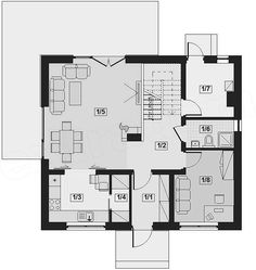 Rzut parteru projektu Armanda Mała American Houses, Malaga, Floor Plans, House Design, Decor, Home Plans, Projects, House Floor Plans, Decoration
