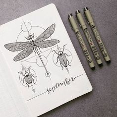I don't like the lettering on my september cover page, maybe i'll cover it up later. What do you think? #bujo #september #monthlyspread #bulletjournal #drawing #dragonfly #beetle #stationery #handlettering #bulletjournaling #planwithme #bujobeauty