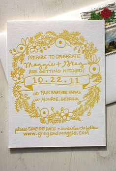 yellow & handwritten save the date. smitten. - adorable - very simple and easy to do. would probably do in red with stars and rainbows and unicorns as a border. (yes, he likes unicorns)