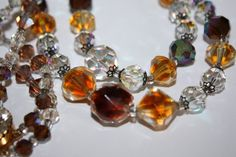 Vintage Crystal Necklace 2 Strand Amber Glass 1950s by patwatty, $30.00
